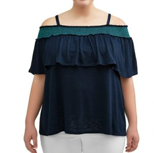 NWT Plus Size Smocked Off Shoulder Ruffle Top 0X